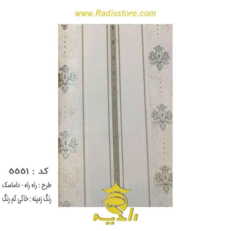 5551-کاغذ-دیواری--طرح-راه-راه-داماسک-خاکی-کم-رنگ